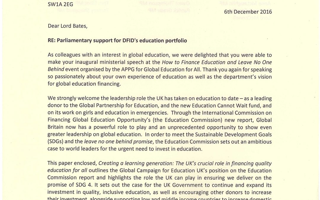 UK Parliamentarians Call on Government to Develop New Global Education Strategy Following Event in Parliament