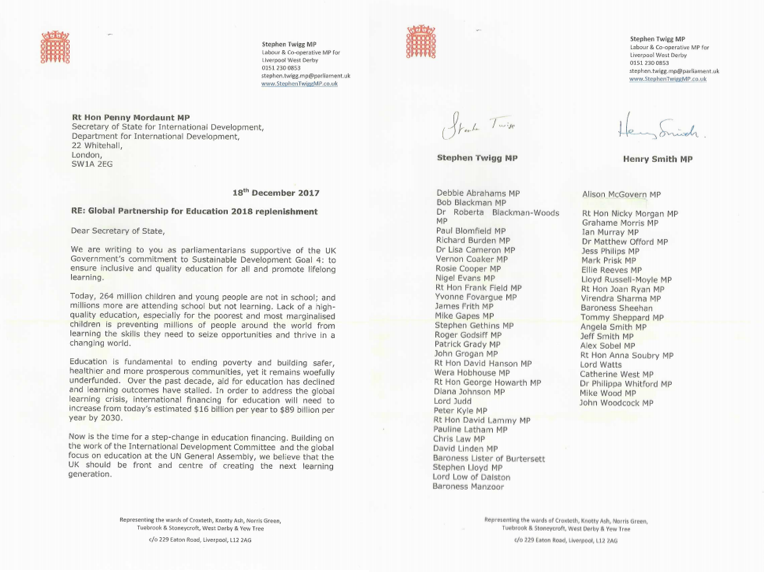 55 MPs sign-on to letter calling on the UK Government to commit to financing the Global Partnership for Education
